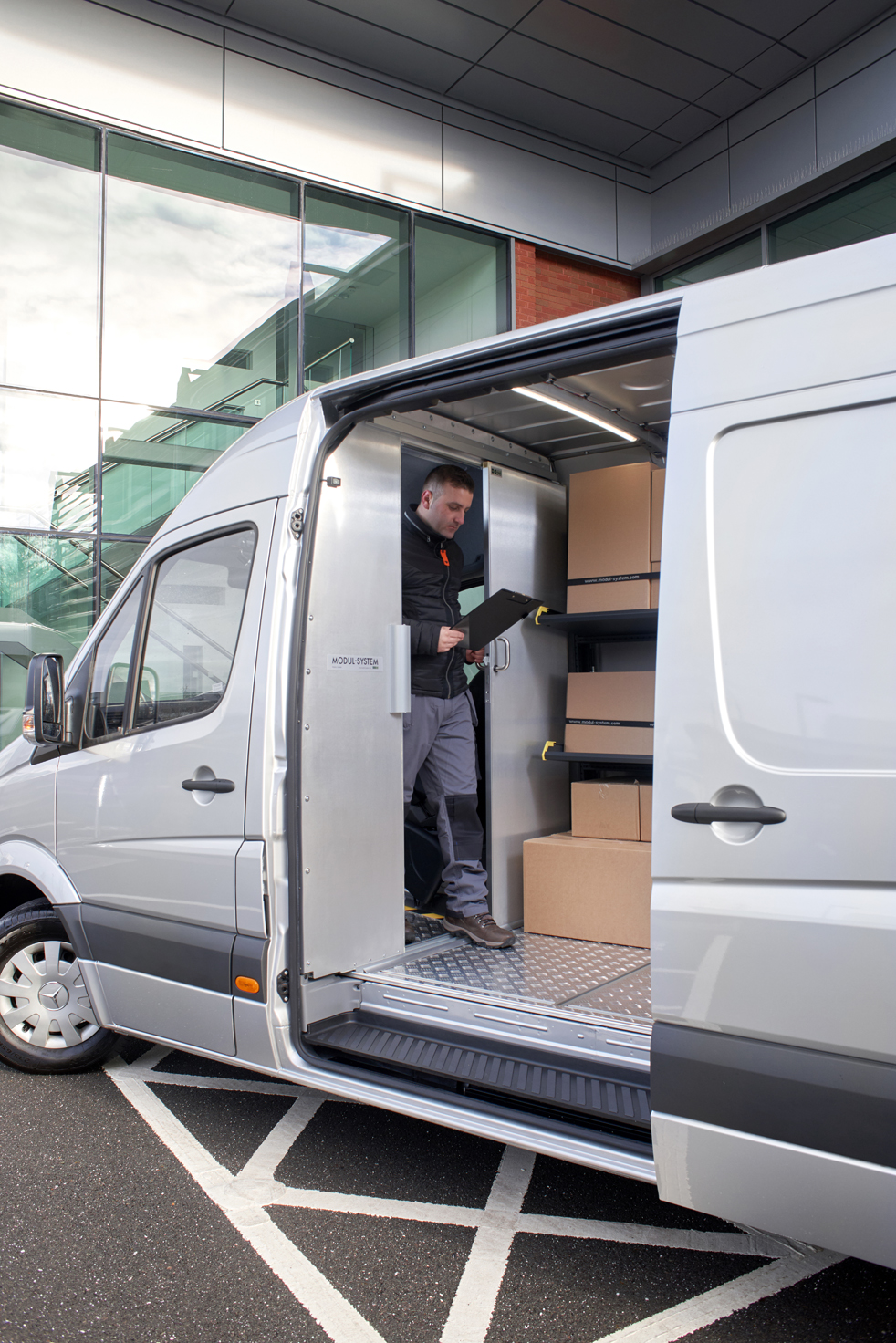 Ford Transit fitted out with modul-express van shelving for delivery