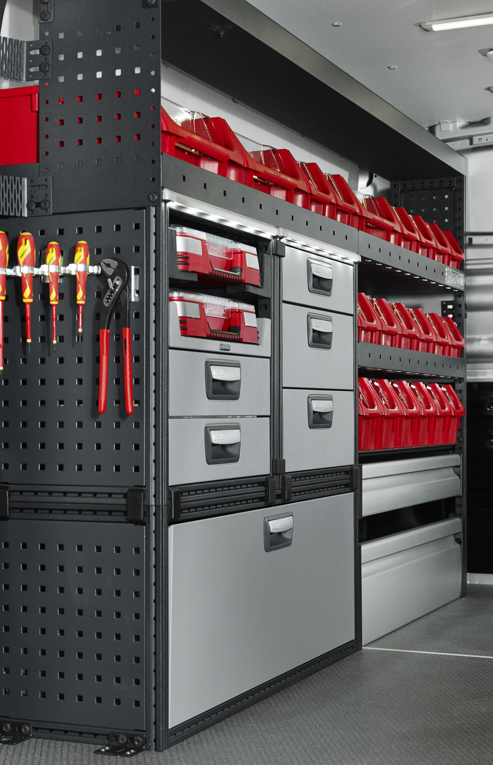 Example of modul-system van racking with drawers, storage boxes and shelving