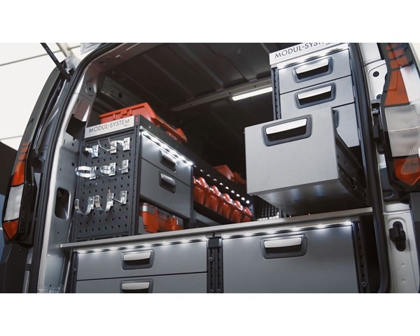 Volkswagen Caddy equipped with Modul-System van racking